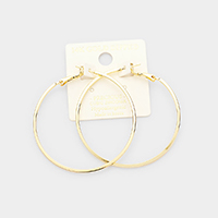14K Gold Dipped 2 Inch Metal Hypoallergenic Hoop Earrings