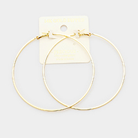 14K Gold Dipped 3 Inch Metal Hypoallergenic Hoop Earrings