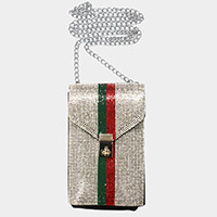 Color Block Rhinestone Embellished Chain Crossbody Bag