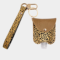Cheetah Pattern Genuine Leather Strap Case with Empty Hand Sanitizer Bottle Set Key Chain