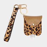 Leopard Pattern Genuine Leather Strap Case with Empty Hand Sanitizer Bottle Set Key Chain