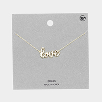 Love Brass Metal Message Pendant Necklace