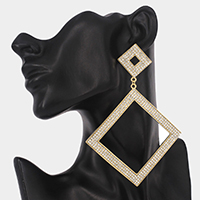 Rhinestone Embellished Open Square Link Evening Earrings