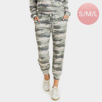 Vintage Camouflage Pattern Print Drawstring Joggers
