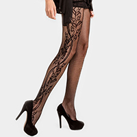 Side Whimsical Floral Inset Fishnet Tight