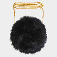 Faux Fur Round Crossbody / Clutch Bag