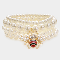 5PCS - Pearl Honey Bee Charm Stretch Bracelets