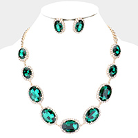 Oval Stone Accented Evening Necklace