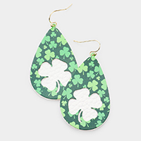 St. Patrick's Day Clover Faux Leather Teardrop Earrings