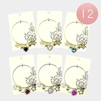12PCS - Heart Stone Accented Star Love Charm Bracelets