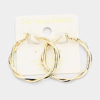 14K Gold Dipped 1.5 Inch Hypoallergenic Braided Hoop Earrings