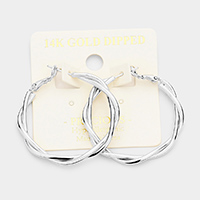 14K White Gold Dipped 1.5 Inch Hypoallergenic Braided Hoop Earrings
