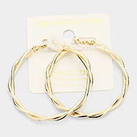 14K Gold Dipped 2 Inch Hypoallergenic Braided Hoop Earrings