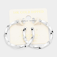 14K White Gold Dipped 1.5 Inch Hypoallergenic Twisted Hoop Earrings