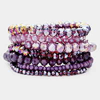 9PCS - Faceted Bead Stretch Bracelets