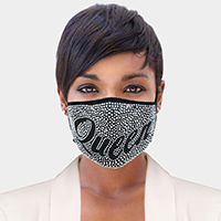Queen Stone Embellished Message Fashion Mask