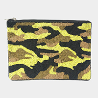 Seed Beaded Camouflage Clutch Bag
