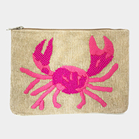 Seed Beaded Embroidery Crab Clutch Bag