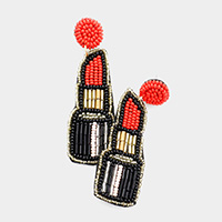 Felt Back Seed Bead Lipstick Earrings