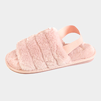 Fuzzy Faux Fur Elastic Slingback Strap Indoor Slide Slippers