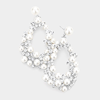 Pearl Round Stone Cluster Irregular Teardrop Evening Earrings