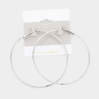 14K White Gold Filled Metal Hoop Earrings