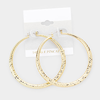 14K Gold Filled Textured Metal Hoop Pin Catch Earrings