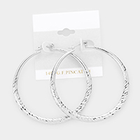 14K White Gold Filled Textured Metal Hoop Pin Catch Earrings