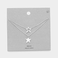 Brass Metal Star Pendant Double Layered Necklace