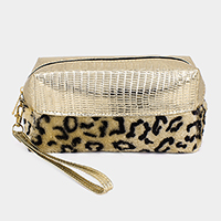 Leopard Faux Fur Accented Metallic Pouch Bag