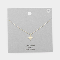 CZ Embellished Brass Metal North Star Pendant Necklace