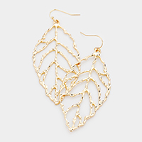 Cut Out Metal Leaf Dangle Earrings