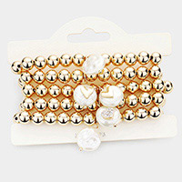 5PCS - Heart Accented Pearl Charm Metal Ball Layered Bracelets