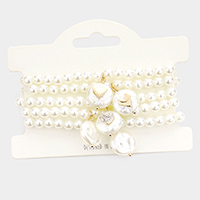 5PCS - Heart Accented Pearl Charm Layered Bracelets