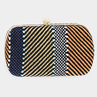 Line Pattern Embroidery Clutch Bag