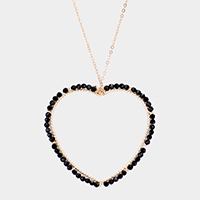 Faceted Bead Trim Open Metal Heart Pendant Long Necklace