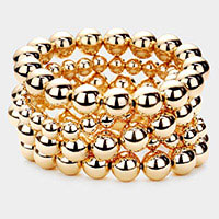 5PCS - Metal Ball Layered Stretch Bracelets