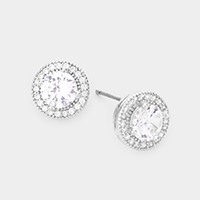 CZ Cubic Zirconia Round Stud Earrings