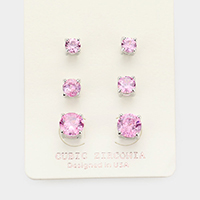 3Pairs - CZ Cubic Zirconia Round Stud Earrings
