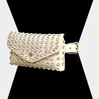 Round Stud Faux Leather Fanny Pack / Belt / Clutch Bag