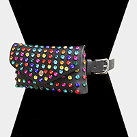 Crystal Stud Faux Leather Clutch / Belt Bag / Fanny Pack