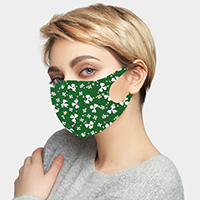 St. Patrick's Day Clover Print Fashion Mask