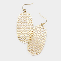 Filigree Metal Hexagon Dangle Earrings