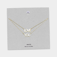LOVE YOU Brass Metal Message Pendant Layered Necklace