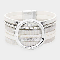 Irregular Open Metal Circle Accented Faux Leather Magnetic Bracelet