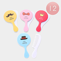 12Pairs - Cute Fashion Assorted Print Round Shaped Mirror Comb Set