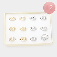 12PCS - Rhinestone Embellished Open Circle Link Assorted Size Rings