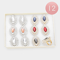 12PCS - Marquise Stone Center Rhinestone Trim Adjustable Rings
