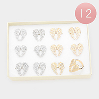 12PCS - Rhinestone Embellished Metal Angel Wings Adjustable Rings