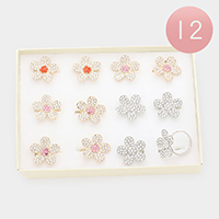 12PCS - Rhinestone Embellished Metal Flower Adjustable Rings